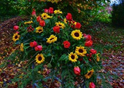 Bukett Mit Sonnenblumen Und Rosen