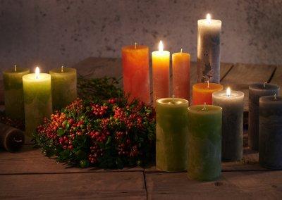 Handgemachte Kerzen Naturfarben