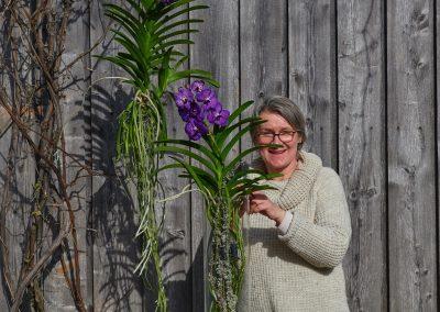 Schnappschuss Floristin Mit Vanda Orchideen